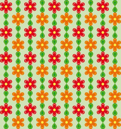 Motivo floreale con fiori rossi e arancio su sfondo verde Archivio Fotografico - 54929657