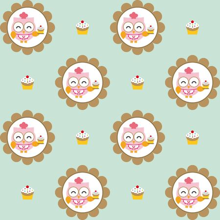 chocolate cupcakes: Fun pattern with owl pastry chef and chocolate cupcakes on blue background