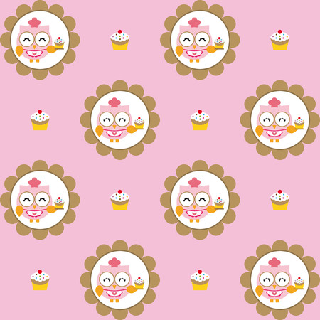chocolate cupcakes: Fun pattern with owl pastry chef and chocolate cupcakes on pink background