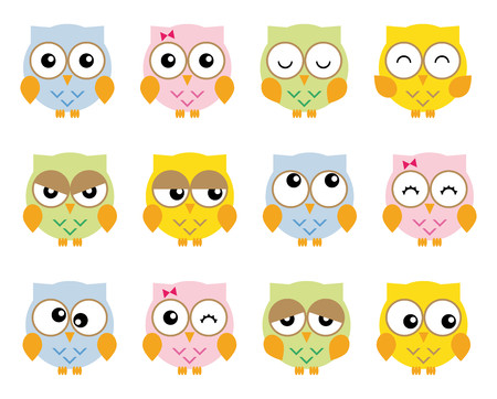 moods: Collection twelve nice simple owls in various moods cartoon style