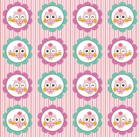 pastry chef: Pattern with owl pastry chef and cupcakes on pink background
