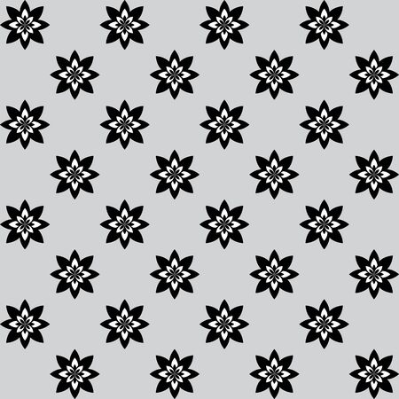 alternating: Floral pattern with alternating black and white flowers on gray background