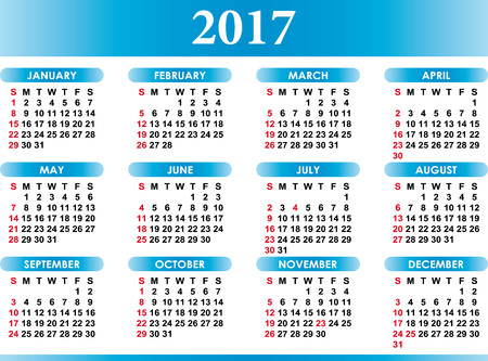 Calendrier de vecteur Inglese pour 2017 avec des festivités Vecteurs