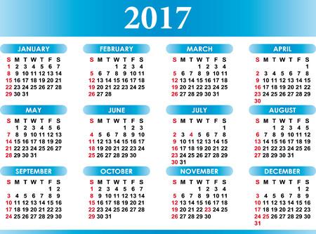 Inglese vector calendar for 2017 with festivities Векторная Иллюстрация
