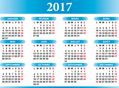 festivities: French calendar 2017 with festivities