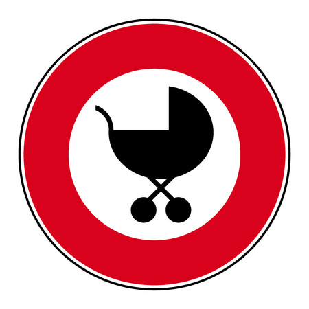 prams: Prohibition access sign strollers prams vector icon 2
