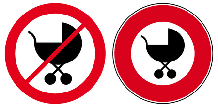 prams: Collection two strollers prams access prohibition signs vector icon