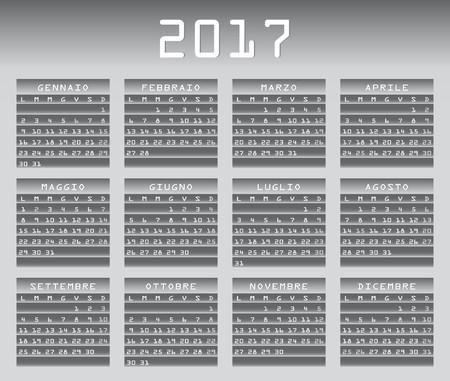 festivities: Italian calendar 2017 greyscale with festivities