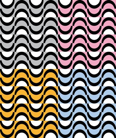 alternating: Collection with colorful patterns semicircles