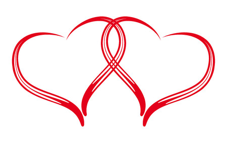 joyous: Couple of red stylized hearts