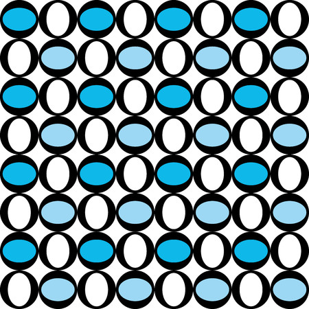 Geometric pattern with blue and white circular decorations