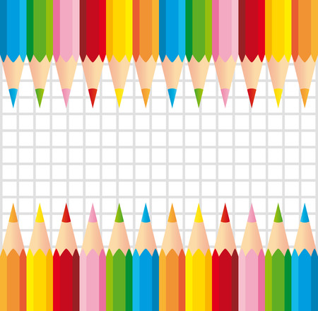 Two series of colorful pencils on squared background