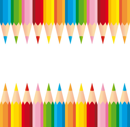 Two series of colorful pencils on white background Illustration