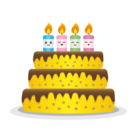 Birthday cake with colorful and expressive candles on white background