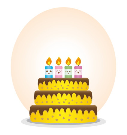 Birthday cake with colorful candles and expressive Illustration