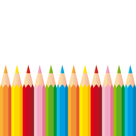 Collection of colorful pencils on white background
