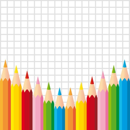 Set of colorful pencils on squared background