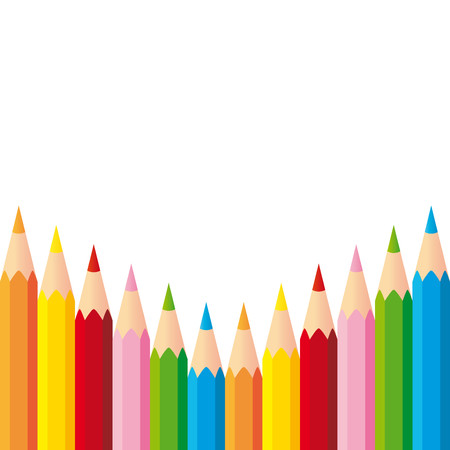 Set of colorful pencils on white background
