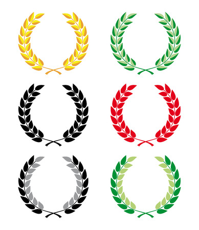 wreaths: Collection of colorful laurel wreaths