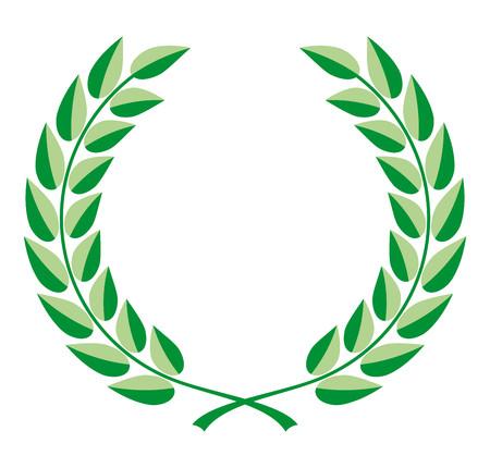 Corona di alloro vettore in due tonalità di verde Vettoriali