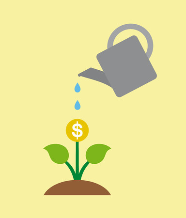 Watering money business concept on yellow background Illustration