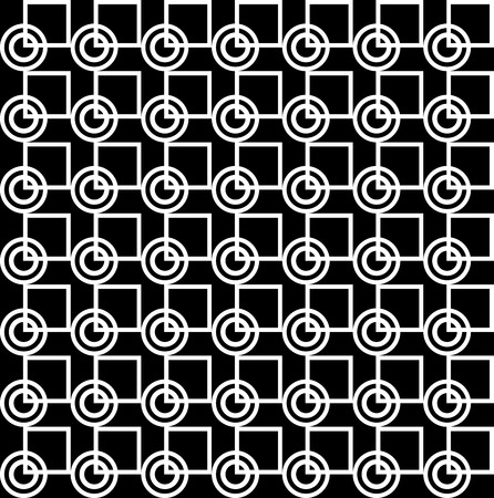 alternating: Geometric pattern with white and black circles and squares Illustration