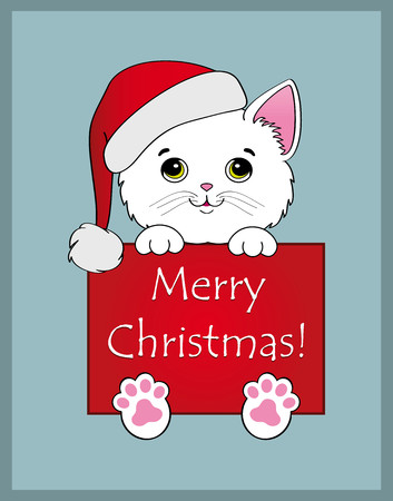 Nice white kitten with cartel merry christmas on blue background Illustration