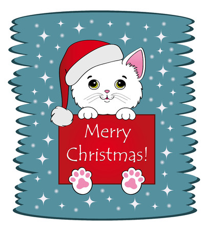 Nice white kitten with cartel merry christmas Illustration