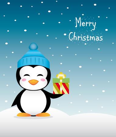 Niza pingüino de la Navidad con el regalo sombrero y el invierno