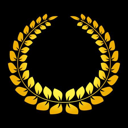 Big gold laurel wreath on black background vector Illustration