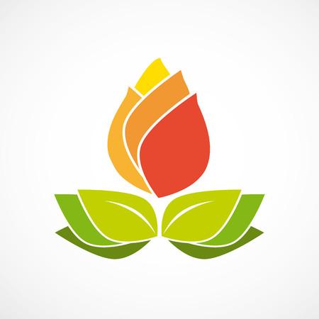 Fiore arancione con foglie naturali logo vettoriale verde Archivio Fotografico - 70741658