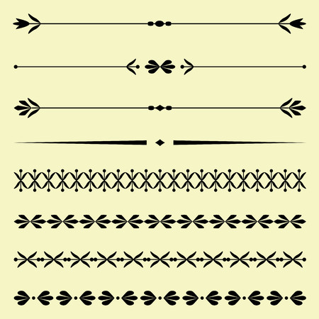 calligraphic design: Set of calligraphic design elements and borders Illustration