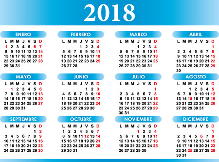 Spanish calendar 2018 with festivities