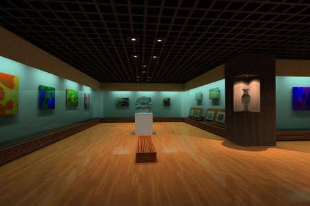 art gallery interior: rendering gallery