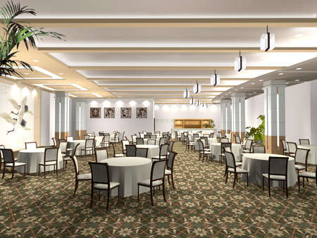 3D de procesamiento interior de un restaurante