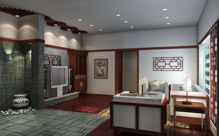 design interior of living-room. 3D render   photo