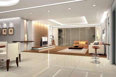 haus beleuchtung: Modernes Design Innenraum Wohnzimmer. 3D render  Lizenzfreie Bilder