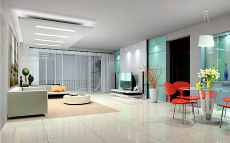 Modern design interior of living-room. 3D render Stock Photo - 7591484