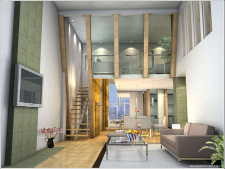 Modern design interior of living-room. 3D render    Stock Photo - 7591488