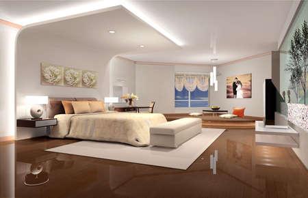 bedroom design: 3D render of a hotel room or bedroom Stock Photo