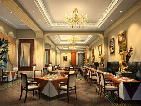 restaurant 3D rendering Reklamní fotografie
