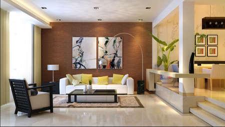 sala de estar: Interior moderno. Procesamiento 3D. Sala de estar