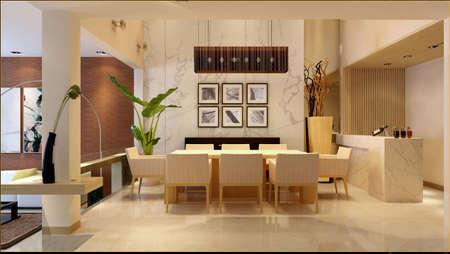 Modern interior. 3D render. Living-room   Foto de archivo