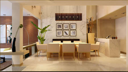 interior mansion: Modern interior. 3D render. Living-room   Stock Photo