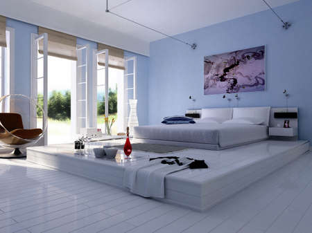 visualisation: 3d rendering of the modern bedroom