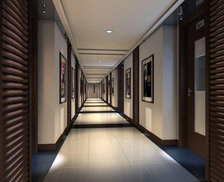 Modern corridor interior image (3D rendering) Stock Photo - 7667234