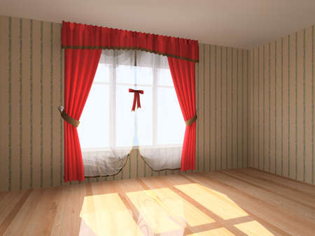 curtain window: Rendering modern empty room interior Stock Photo