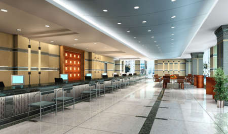 3D rendering of an empty office hall Stock Photo - 7667250