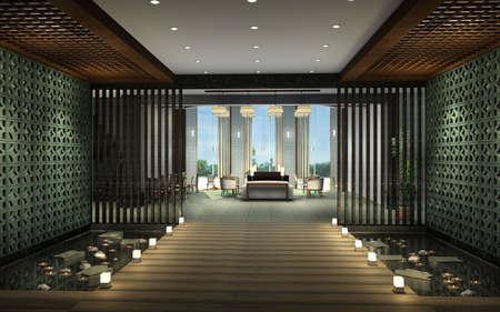 Modern corridor interior image (3D rendering) Stock Photo - 7667249