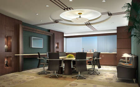 conference table: conference room with black armchairs interior 3d render